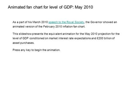 Animated fan chart for level of GDP: May 2010 As a part of his March 2010 speech to the Royal Society, the Governor showed an animated version of the February.