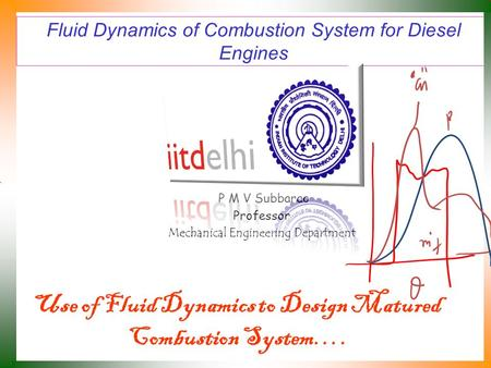 Fluid Dynamics of Combustion System for Diesel Engines P M V Subbarao Professor Mechanical Engineering Department Use of Fluid Dynamics to Design Matured.