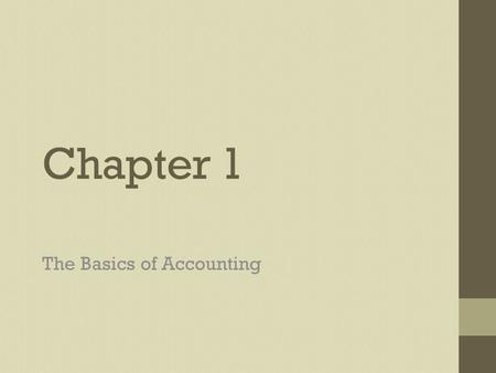 Chapter 1 The Basics of Accounting. What is Accounting? Accounting Plan, record, analyze, interpret Accounting System Process of providing the information.