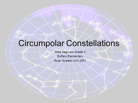 4th Grading period 2001Lesson 3, Solar System Unit Circumpolar Constellations Miss Saginaw Grade 4 Buffalo Elementary Solar System Unit 2001.