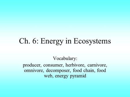 Ch. 6: Energy in Ecosystems Vocabulary: producer, consumer, herbivore, carnivore, omnivore, decomposer, food chain, food web, energy pyramid.