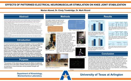 Marian Abowd, Dr. Cindy Trowbridge, Dr. Mark Ricard EFFECTS OF PATTERNED ELECTRICAL NEUROMUSCULAR STIMULATION ON KNEE JOINT STABILIZATION AbstractResultsConclusion.
