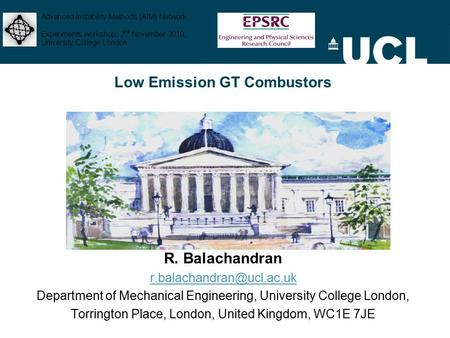 Low Emission GT Combustors R. Balachandran Department of Mechanical Engineering, University College London, Torrington Place,