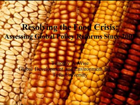 © Global Development and Environment Institute, Tufts University Resolving the Food Crisis: Assessing Global Policy Reforms Since 2007 Timothy A. Wise.
