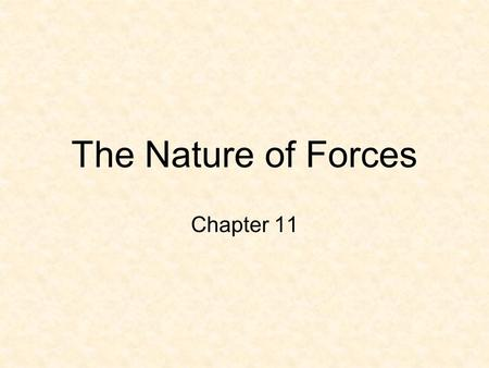 The Nature of Forces Chapter 11 Force A force is a push or pull A force gives energy to an object sometimes causing it to start moving, stop moving,