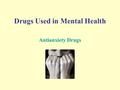 Drugs Used in Mental Health Antianxiety Drugs. Anxiety – a feeling of apprehension, worry, or uneasiness that may or may not e based on reality Anxiolytics.