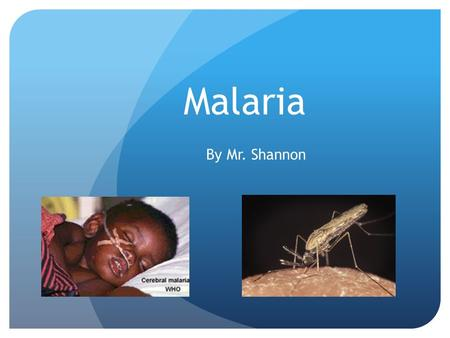 Malaria By Mr. Shannon. Malaria: Symptoms Typical symptoms of malaria include fever, chills, vomiting, and anemia. Severe cases of malaria can occur quickly.