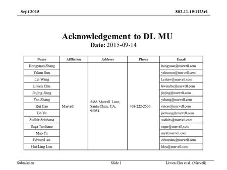 Submission 802.11-15/1123r1Sept 2015 Slide 1Liwen Chu et al. (Marvell) Acknowledgement to DL MU Date: 2015-09-14.