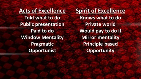 Acts of ExcellenceSpirit of Excellence Told what to doKnows what to do Public presentationPrivate world Paid to doWould pay to do it Window MentalityMirror.
