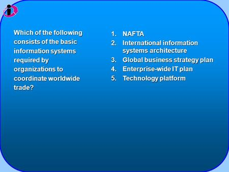 1.NAFTA 2.International information systems architecture 3.Global business strategy plan 4.Enterprise-wide IT plan 5.Technology platform Which of the following.
