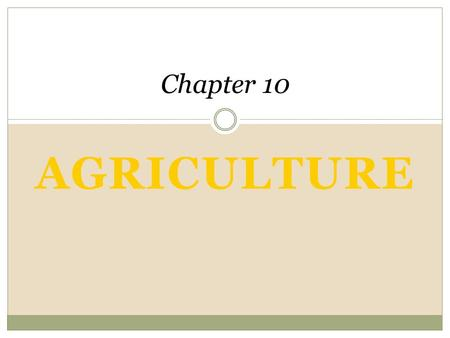 AGRICULTURE Chapter 10 An Introduction to Human Geography The Cultural Landscape, 8e James M. Rubenstein.