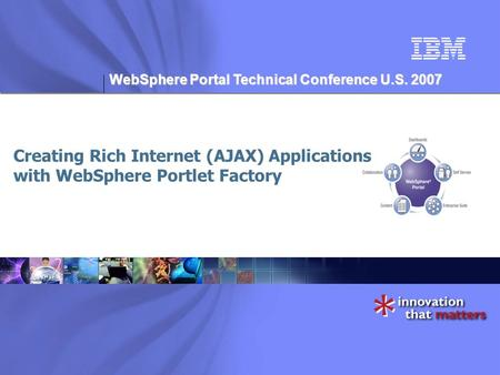 WebSphere Portal Technical Conference U.S. 2007 Creating Rich Internet (AJAX) Applications with WebSphere Portlet Factory.