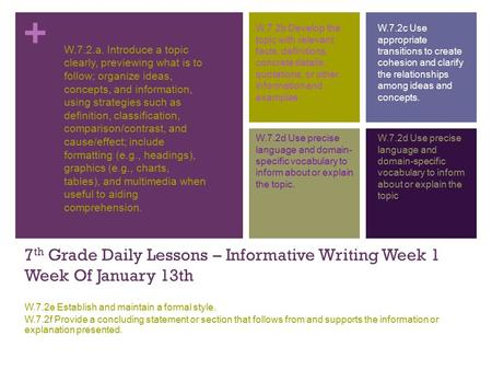 + 7 th Grade Daily Lessons – Informative Writing Week 1 Week Of January 13th W.7.2e Establish and maintain a formal style. W.7.2f Provide a concluding.