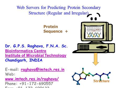 Web Servers for Predicting Protein Secondary Structure (Regular and Irregular) Dr. G.P.S. Raghava, F.N.A. Sc. Bioinformatics Centre Institute of Microbial.