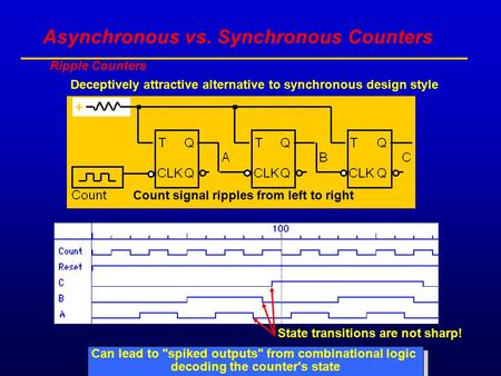 Asynchronous vs. Synchronous Counters Ripple Counters Deceptively attractive alternative to synchronous design style State transitions are not sharp! Can.