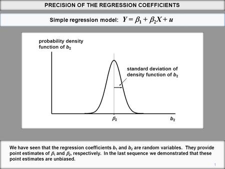 Simple regression model: Y =  1 +  2 X + u 1 We have seen that the regression coefficients b 1 and b 2 are random variables. They provide point estimates.