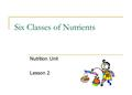 Six Classes of Nutrients Nutrition Unit Lesson 2.