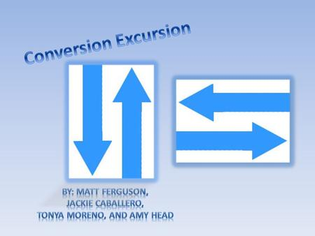 What does conversion mean? A change in the units or form of a number or expression.