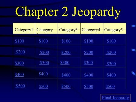 Chapter 2 Jeopardy Category1Category 2 Category3Category4 Category5 $100 $200 $300 $400 $500 $100 $200 $300 $400 $500 Final Jeopardy.