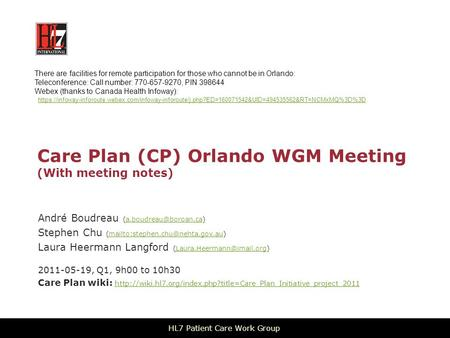 Care Plan (CP) Orlando WGM Meeting (With meeting notes) André Boudreau Stephen Chu