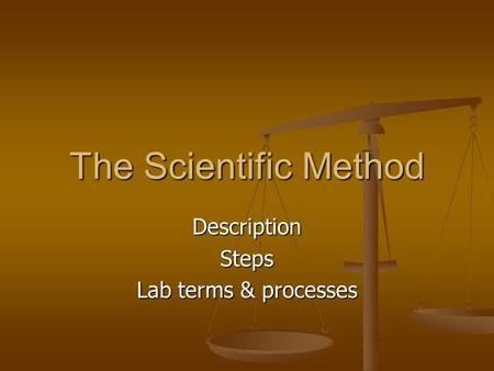 The Scientific Method DescriptionSteps Lab terms & processes.