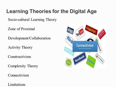 Learning Theories for the Digital Age Socio-cultural Learning Theory Zone of Proximal Development/Collaboration Activity Theory Constructivism Complexity.