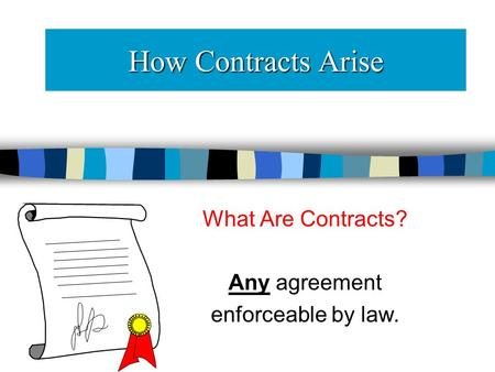 How Contracts Arise What Are Contracts? Any agreement enforceable by law.