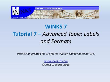 WINKS 7 Tutorial 7 – Advanced Topic: Labels and Formats Permission granted for use for instruction and for personal use. www.texasoft.com © Alan C. Elliott,