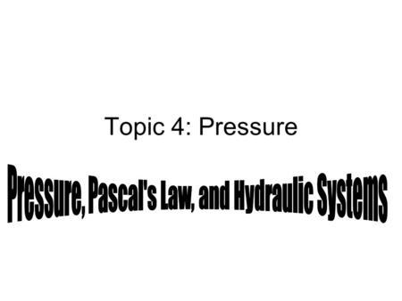 Topic 4: Pressure. Pressure = Force÷Area p = F/A The unit for pressure is the pascal, which is written as Pa. 1 Pascal = 1 Newton/1 square meter Pa =