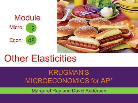 KRUGMAN'S MICROECONOMICS for AP* Other Elasticities Margaret Ray and David Anderson Micro: Econ: 12 48 Module.