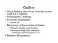 Outline Group Reading Quiz #2 on Thursday (covers week 5 & 6 readings Chromosome Territories Chromatin Organization –Histone H1 Mechanism of Transcription.
