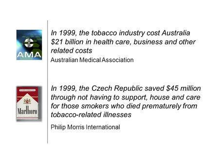 In 1999, the Czech Republic saved $45 million through not having to support, house and care for those smokers who died prematurely from tobacco-related.