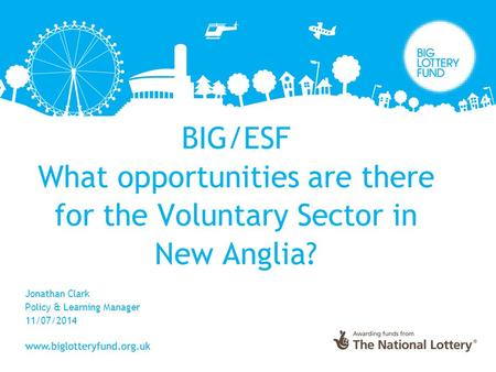 BIG/ESF What opportunities are there for the Voluntary Sector in New Anglia? Jonathan Clark Policy & Learning Manager 11/07/2014.