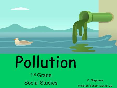 Pollution 1 st Grade Social Studies C. Stephens Williston School District 29.