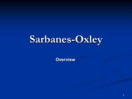 SARBANES ACT OXLEY