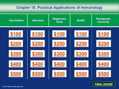 © 2013 Pearson Education, Inc. Chapter 18: Practical Applications of Immunology $100 $200 $300 $400 $500 $100$100$100 $200 $300 $400 $500 VaccinationVaccines.