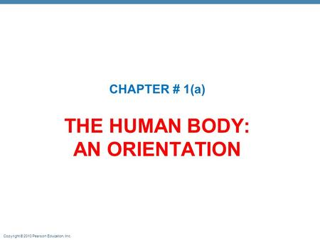 Copyright © 2010 Pearson Education, Inc. THE HUMAN BODY: AN ORIENTATION CHAPTER # 1(a)