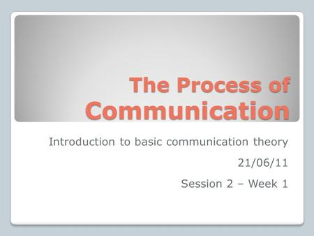 The Process of Communication Introduction to basic communication theory 21/06/11 Session 2 – Week 1.