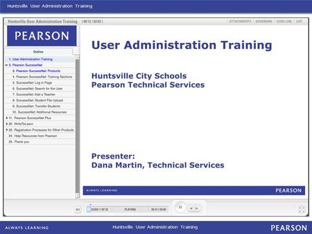 Huntsville User Administration Training. Huntsville User Administration Training: Other Products – Teacher Administrated.