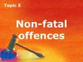Topic 5 Non-fatal offences. Topic 5 Assault Non-fatal offences: assault.