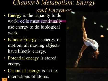 Chapter 8 Metabolism: Energy and Enzymes Energy is the capacity to do work; cells must continually use energy to do biological work. Kinetic Energy is.