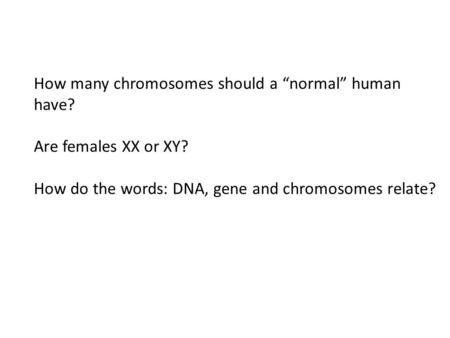 "How many chromosomes should a ""normal"" human have? Are females XX or XY? How do the words: DNA, gene and chromosomes relate?"