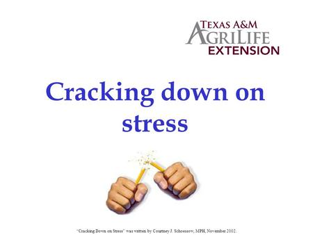 "Cracking down on stress ""Cracking Down on Stress"" was written by Courtney J. Schoessow, MPH, November 2002."