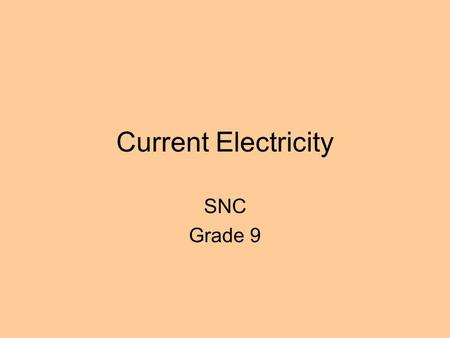 Current Electricity SNC Grade 9. A Simple Circuit Load/Resistance Connecting wires Power source.