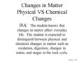 Changes in Matter Physical VS Chemical Changes I8A: The student knows that changes in matter affect everyday life. The student is expected to distinguish.