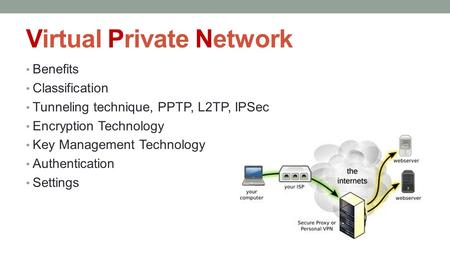 Virtual Private Network Benefits Classification Tunneling technique, PPTP, L2TP, IPSec Encryption Technology Key Management Technology Authentication Settings.
