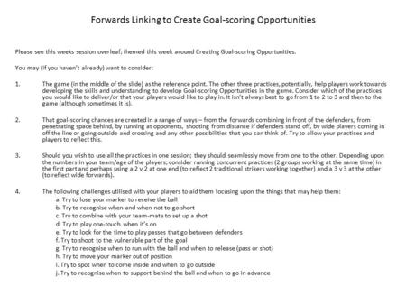 Please see this weeks session overleaf; themed this week around Creating Goal-scoring Opportunities. You may (if you haven't already) want to consider: