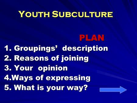 Youth Subculture PLAN PLAN 1. Groupings' description 2. Reasons of joining 3. Your opinion 4.Ways of expressing 5. What is your way?