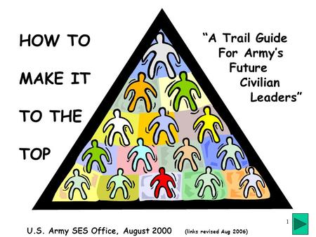 "1 HOW TO MAKE IT TO THE TOP ""A Trail Guide For Army's Future Civilian Leaders"" U.S. Army SES Office, August 2000 (links revised Aug 2006)"