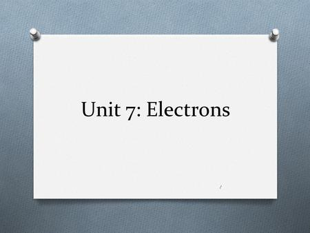 Unit 7: Electrons 1. Electromagnetic (EM) radiation O A form of energy produced by electrical and magnetic disturbance, or by the movement of electrically.